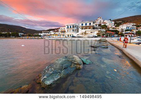 BATSI, GREECE - SEPTEMBER 19, 2016: Batsi village on the coast of Andros island in Greece on September 19, 2016.