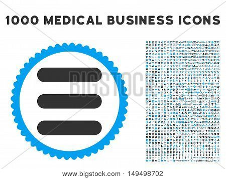 Stack icon with 1000 medical commerce gray and blue vector pictograms. Design style is flat bicolor symbols white background.