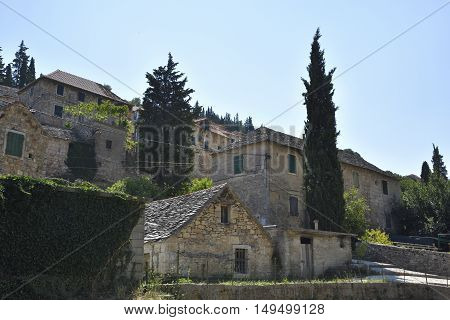 Stone houses in the little old village Dol on Island Brac in Croatia.