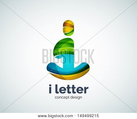Vector i letter logo, abstract geometric logotype template, created with overlapping elements