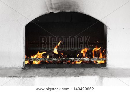 White Russian Stove Burner With Fire