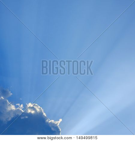 light rays on clear blue sky, natural background
