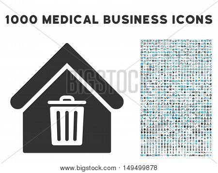 Trash House icon with 1000 medical commercial gray and blue vector pictograms. Design style is flat bicolor symbols white background.