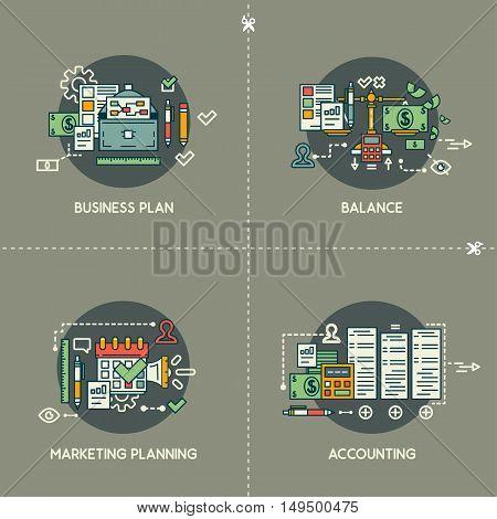 Business plan, balance, marketing planning, marketing, accounting on gray background
