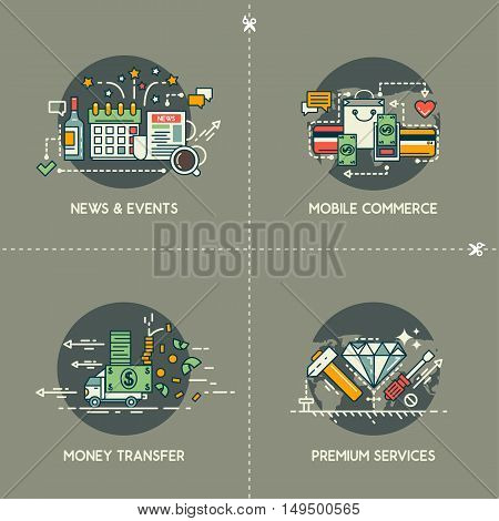 News and events, mobile commerce, money transfer, premium services on gray background