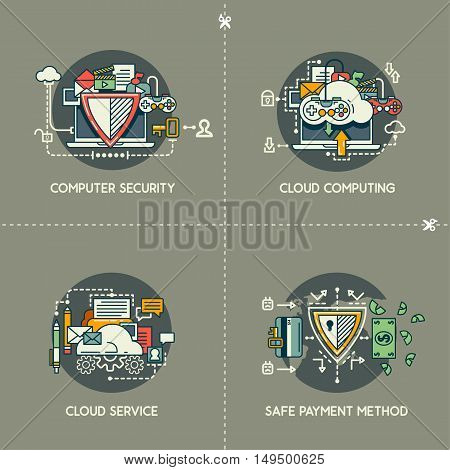Computer security, cloud computing, cloud service, safe payment method on gray background