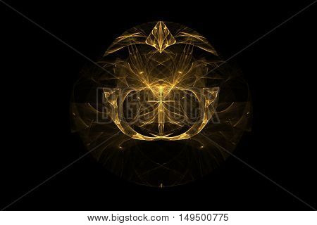 Gold emblem of the Order consists of lines and geometric shapes in the form of character with a sword inside the fangs and the right and left of the sword on black background.