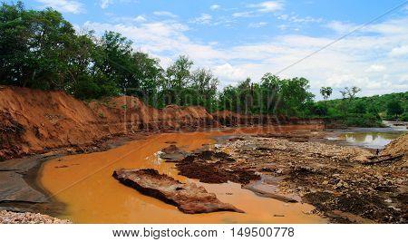 Landscape of red stream Weito river Ethiopia