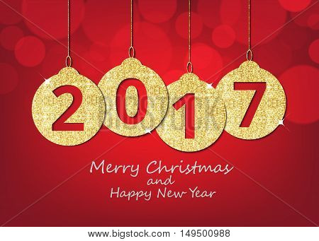 Merry Christmas and happy new year hanging 2017 number glitter balls on shiny red background.