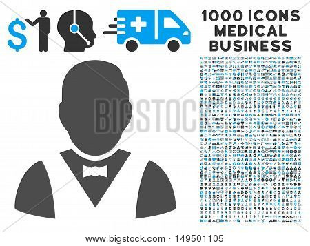 Waiter icon with 1000 medical commercial gray and blue vector pictographs. Collection style is flat bicolor symbols white background.
