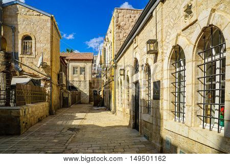 Alley In The Historic Nachalat Shiva District, Jerusalem, Israel