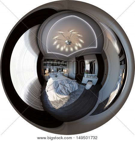 3d illustration spherical 360 degrees seamless panorama of bedroom interior design. The design of the bedroom is in the Scandinavian style