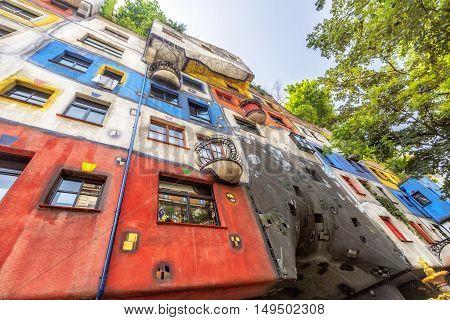 View Of Hundertwasser House In Vienna, Austria.