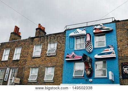 LONDON UK - AUGUST 20 2015: Building facade in Camden Town Market.