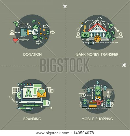 Donation, bank money transfer, branding, mobile shopping on gray background