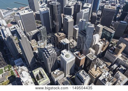 Afternoon aerial view of downtown San Francisco central business district.