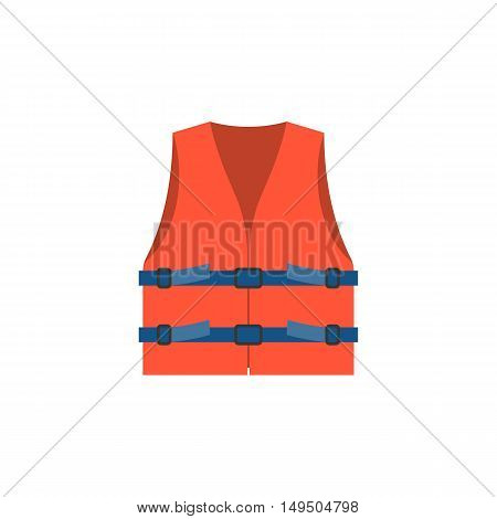 life vest icon, red life vest jacket for children illustration vector, flat design
