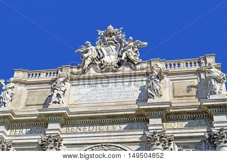Rome Italy - September 12 2016 : Detail of the famous Trevi Fountain in Rome