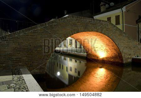 a beautiful night vision on Comacchio bridges