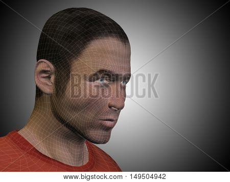 Vector concept or conceptual 3D illustration wireframe young human male or man face or head on gray background metaphor to technology, cyborg, digital, virtual, avatar, model, science, fiction, future