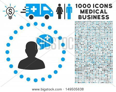 Arguments icon with 1000 medical business gray and blue glyph design elements. Collection style is flat bicolor symbols white background.