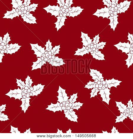 Seamless Pattern with Christmas Holly Berry, Christmas Decorations on a Red Background, Vector Illustration