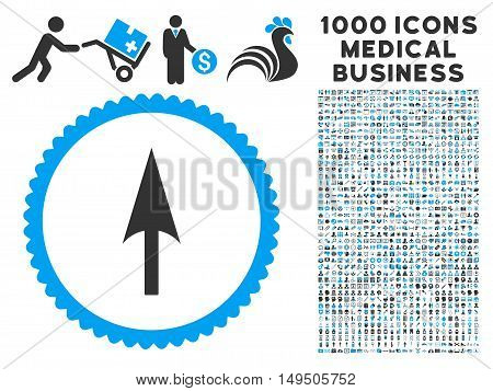 Arrow Axis Y icon with 1000 medical business gray and blue glyph design elements. Clipart style is flat bicolor symbols white background.