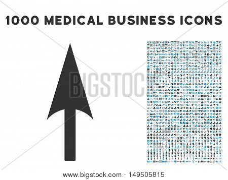 Arrow Axis Y icon with 1000 medical business gray and blue glyph pictographs. Design style is flat bicolor symbols white background.