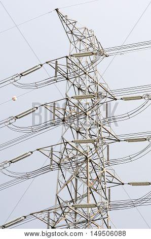High voltage power pole in town. bangkok thailand.