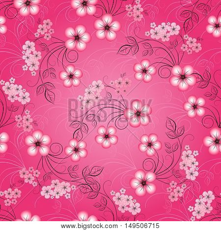 Floral seamless spring pattern with gradient cherry flowers (vector)