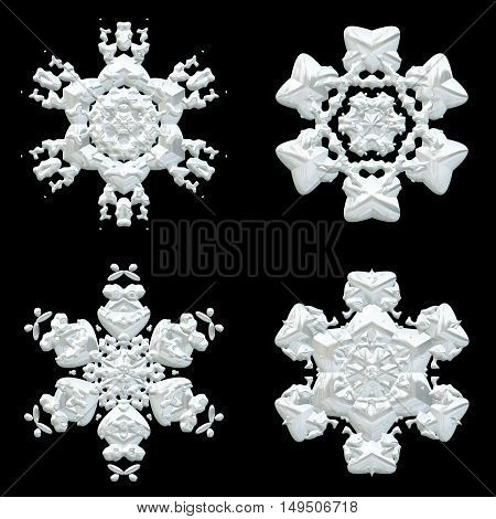 Four snowflakes winter decorations collection on black