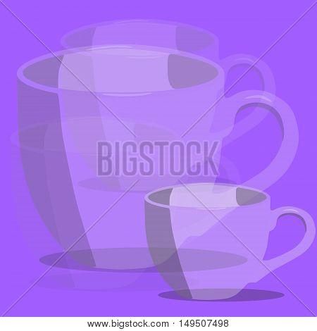 Abstract transparent violet cups. Cup set. Vector illustration