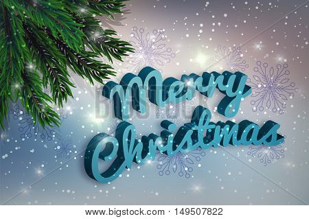 Merry Christmas. A fir-tree branch on it is violet a blue background, with the shining stars. Christmas and New Year greeting card. Vector illustration