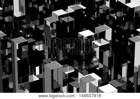 Abstract black and white city concept. 3d illustration.