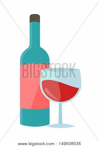 Bottle with alcohol vector in flat style. Glass bottle of wine illustration for beverages concepts, grocery store advertising, icons, infograqphic element. Isolated on white background.