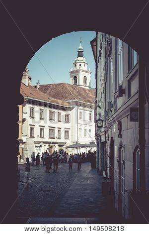 Ljubljana  - Slovenia - September 25, 2016 : St. Nicholas Cathedral  In Ljubljana, Slovenia. The Slo