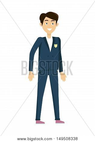 Schoolboy in blue jacket and pants. Smiling boy in school uniform. Stand in front. Schoolboy isolated character. School personage. Vector illustration on white background.