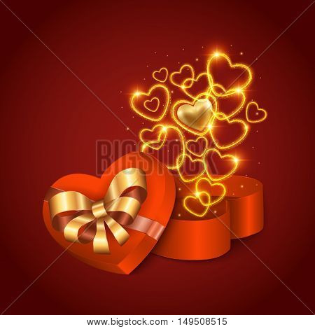 Illustration of heart shaped gift box with bow ribbons and golden hearts