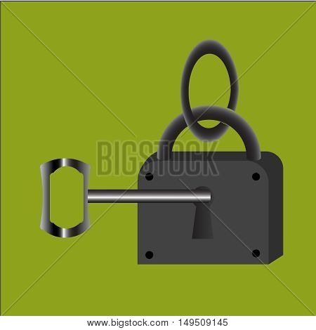 Lock with key. Vector,residential, security, shape, shiny, sign, structure, success,