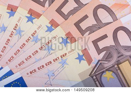 Euro money background. Fifty euro banknotes. European Union Currency