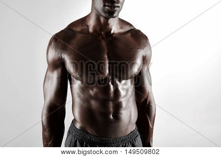 Shirtless African Man With Muscular Abs