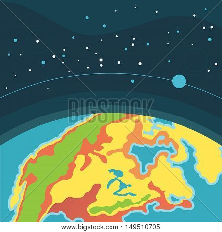 Earth in outer space. Cosmic background with Earth. Planet in universe, Cartoon vector.