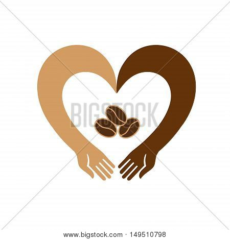 Hands in the shape of a heart embracing coffee beans