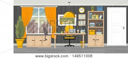 Office workspace background with desk. Business workplace in the city.