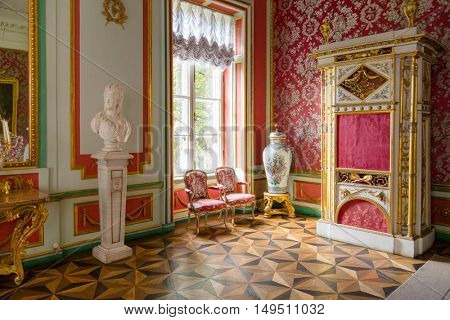 Moscow, Russia - September 3, 2016: Interior of Kuskovo Palace.