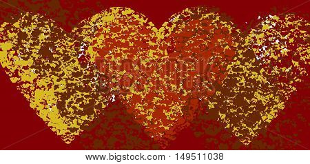 Colorful background with three hearts from spots and stains of vivid paint