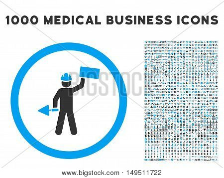 Builder With Shovel icon with 1000 medical business gray and blue glyph pictographs. Set style is flat bicolor symbols white background.