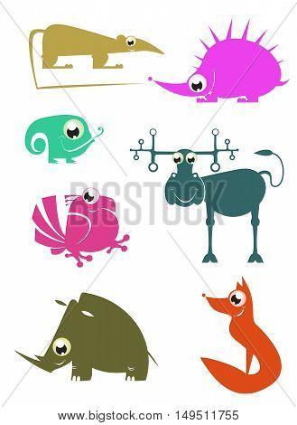 Cartoon funny animals illustration set for design