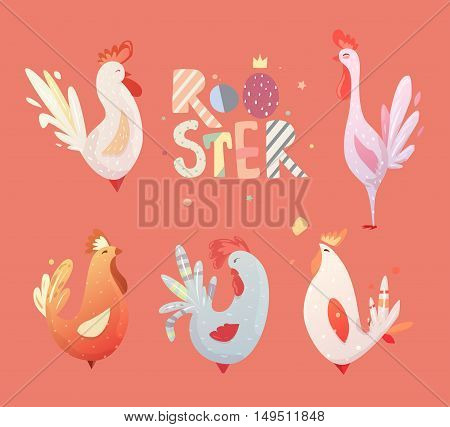 Set roosters for children. The character of happy, bright birds. Illustrations for the postcards, T-shirts, artwork, calendars. birthday.