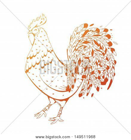 Fire Rooster symbol 2017 by the Chinese calendar. Modern illustration for printing on fabric, clubs, flyers, advertising, calendar. Cock with elements zentagl.